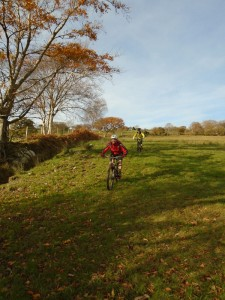 Stuart and Brian descending through the fields into Dyffryn Dysynni.